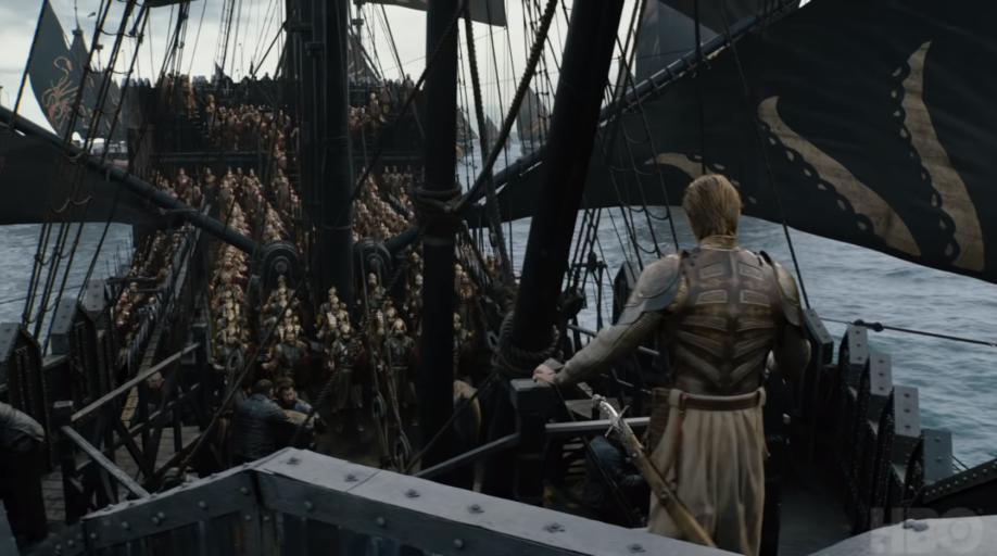 La Compagnie Dorée à bord des navires fer-nés (crédits : HBO)
