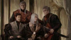 Le roi Aegon V Targaryen et ses trois fils (de gauche à droite), Duncan, Jaehaerys et Daeron (crédits : Karla Ortiz, TWOIAF)