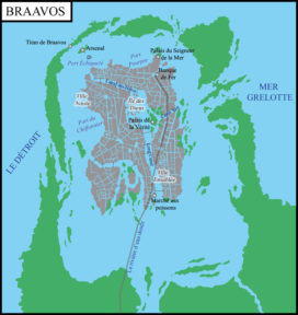 Plan de la cité libre de Braavos (crédits : Babar des Bois, d'après Les cartes du monde connu)