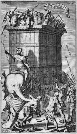 Plus ou moins fantasmées j'ai dit, ces tours. Bon, on notera au passage qu'elles n'existaient pas a priori à l'époque d'Alexandre. Gravure de la bataille de l'Hydaspe, par Johannes van den Avele - 1685 (crédits : Wikimedia Commons)