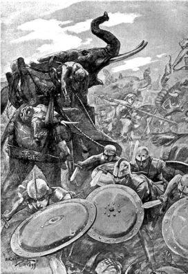 Gravure de la bataille de l'Hydaspe par André Castaigne - 1911 (crédits : Wikimedia Commons)