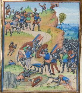 La bataille de Brignais (1362), où l'ost royale est battue par des Grandes Compagnies, dont celle des Tard-venus, menés par Seguin de Badefol (manuscrit de Gruuthuse, -Jean Froissart- XVe ; BNF. WikiCommons)