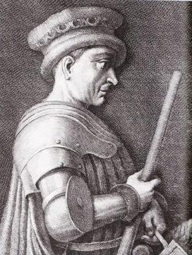 Gravure de John Hawkwood (1323–1394), condottière de la Compagnie Blanche (WikiCommons).