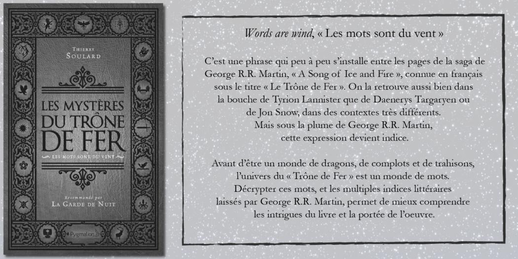 [On teste pour vous] «Les Mystères du Trône de Fer – Les mots sont du vent» par Thierry Soulard
