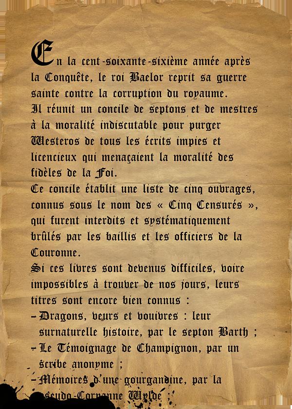 page perdu Feu et Sang Gyldayn Baelor Roi Septon Cinq Censurés
