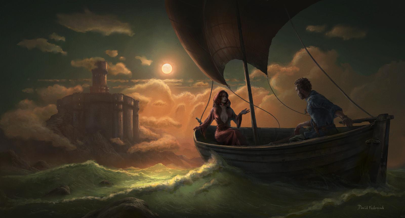 Davos transportant Melisandre à Accalmie
