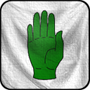 Une main verte sur champ blanc, blason de la maison Jardinier
